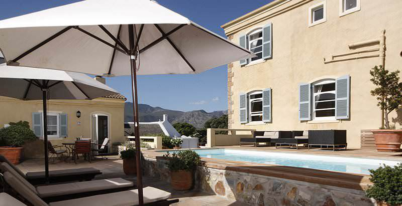 The tranquil pool area at Auberge Burgundy in Hermanus.