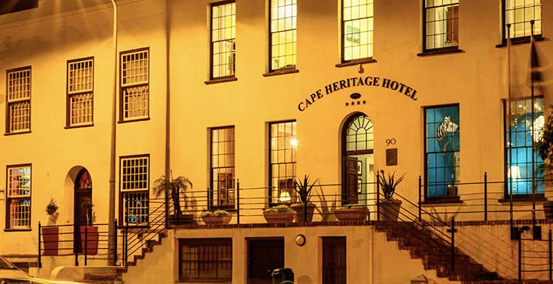 The classical exterior of the Cape Heritage Hotel in the heart of Cape Town.