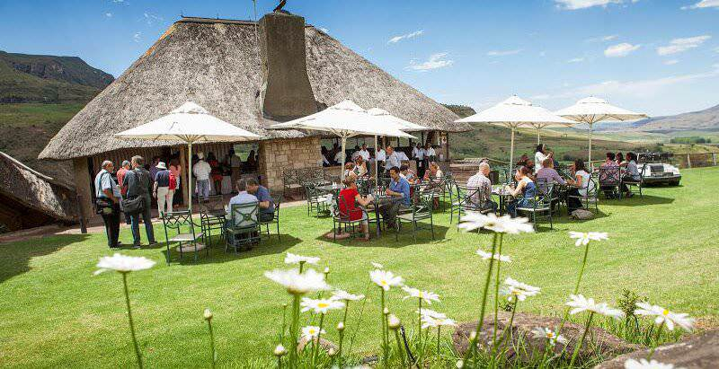 A lunch setting on the manicured lawns of the Cathedral Peak Hotel in the Drakensberg.