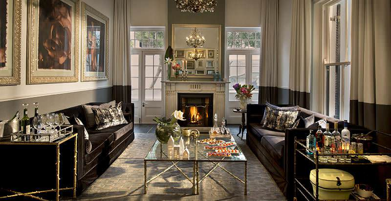 The grand lounge area at the historic Cape Cadogan Boutique Hotel in the heart of Cape Town.