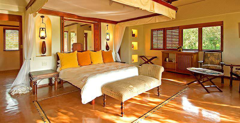 The plush interior of a suite at Chobe Chilwero Lodge in Botswana.