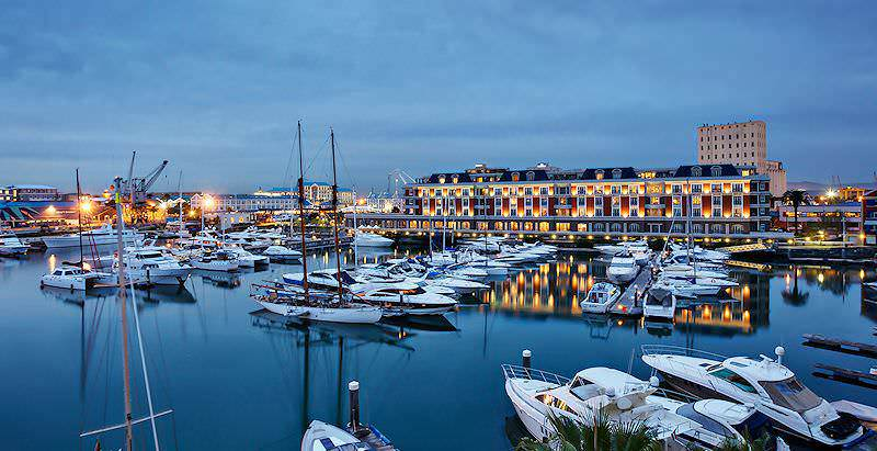 The exclusive Cape Grace Hotel overlooks the international yacht basin at the Victoria & Alfred Waterfront.