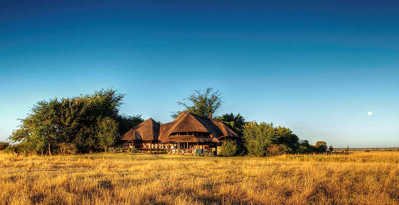 The exterior of Chobe Savanna Lodge, surrounded by wilderness.