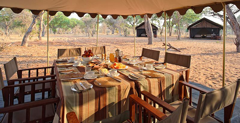 Lunch is served at Chobe Under Canvas in Chobe National Park.