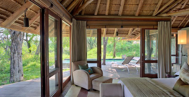 A palatial suite at Dulini Leadwood Lodge in the Sabi Sand Private Game Reserve.