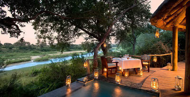 A private suite with plunge pool and viewing deck overlooking the Sand River at Dulini River Lodge in Sabi Sand.