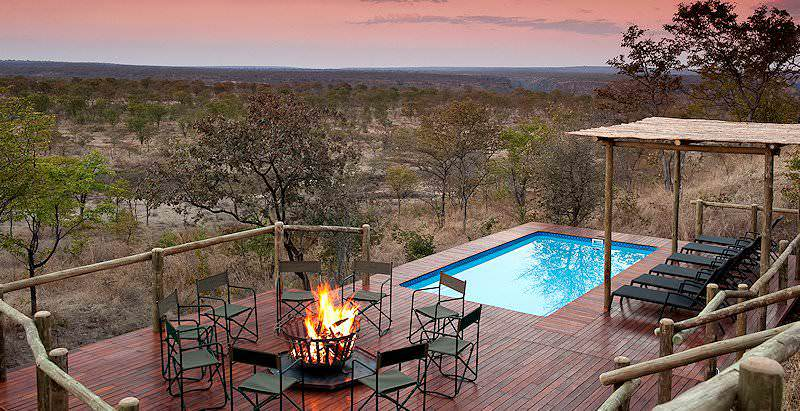 The inviting swimming pool and deck area at Elephant Camp not far from the Victoria Falls.