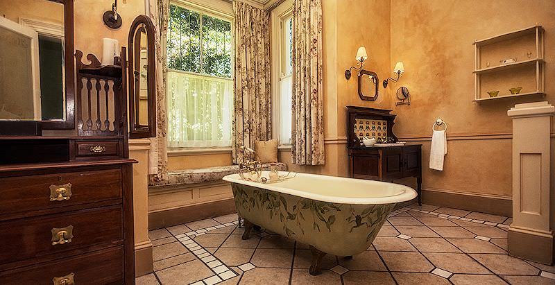 The luxurious interior of a bathroom at Hacklewood Hill Country House.