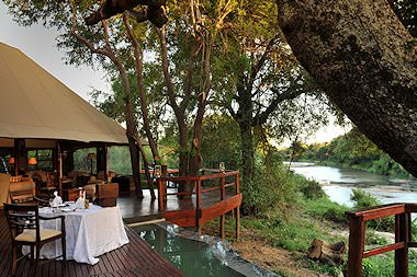 The exterior of Hamiltons Tented Camp in the Kruger National Park.