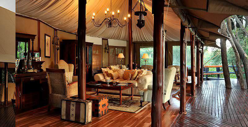 The lavish deck area of Hamiltons Tented Camp in the Kruger National Park.