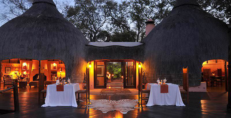 Evening settles over an ambiently lit Hoyo Hoyo Safari Lodge in the Kruger National Park.