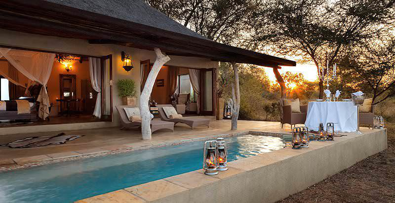 The sumptuous honeymoon suite at Kings Camp in the Timbavati Private Game Reserve.