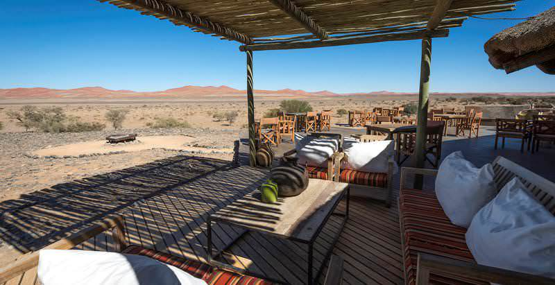 Kulala Desert Lodge's patio rests on the edge of a private stretch of wilderness near Sossusvlei in Namibia.