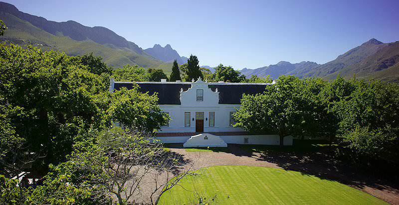 The immaculate Cape Dutch exterior of Lanzerac on the edge of Stellenbosch in the Cape winelands.