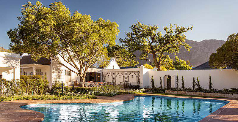 The pool area at Leeu House in the winelands town of Franschhoek.
