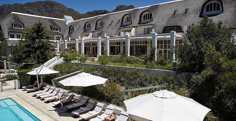 The exterior of the luxurious five star Le Franschhoek Hotel in the Cape winelands.