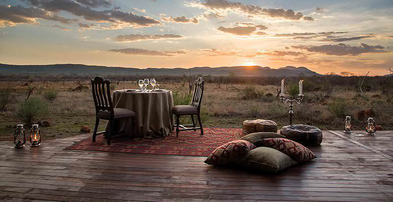 A romantic private dinner on the edge of the wilderness at Madikwe Hills.