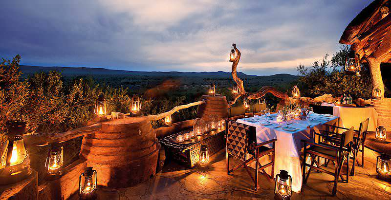 A lantern-lit evening at the luxurious Madikwe Safari Lodge in the Madikwe Game Reserve.