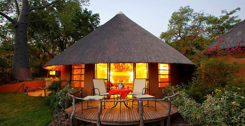 The exterior of a chalet at Mala Mala Main Camp in the Mala Mala Game Reserve.