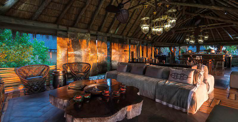 The enticing lounge area at Mombo Camp in Botswana's Okavango Delta.
