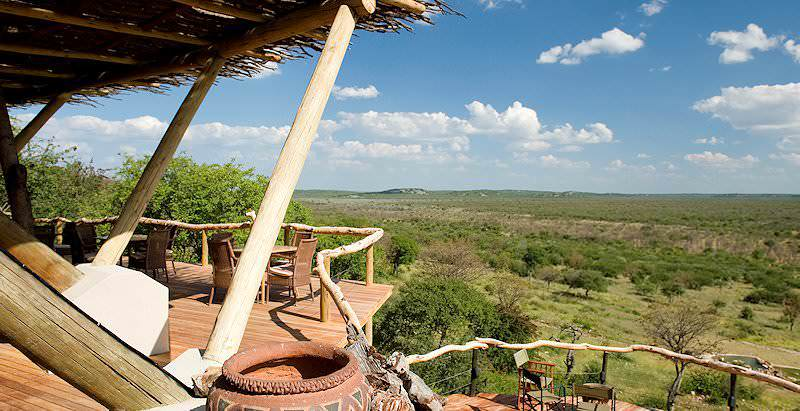 The stunning views from the perch of Ongava Lodge in a private concession of Namibia's Etosha National Park.