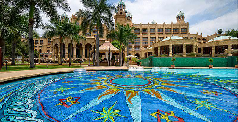 The mosaic-tiled swimming pool at the Palace Hotel in Sun City.
