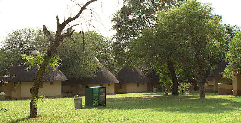Thatched rondavels at Pretoriuskop Rest Camp.