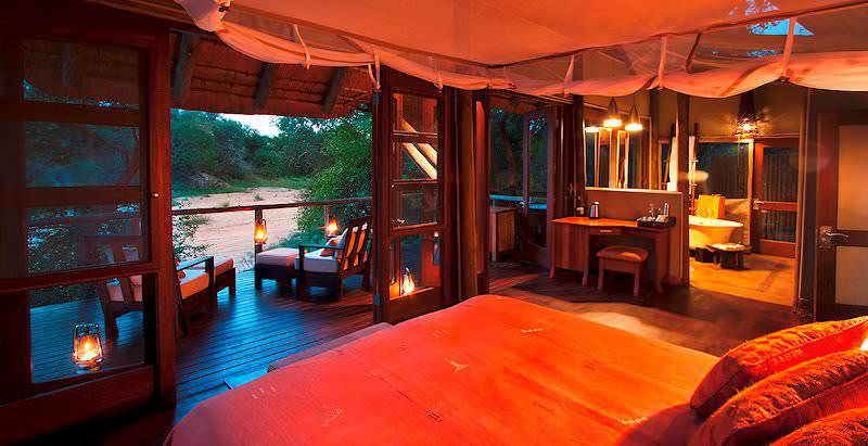 The interior of a luxury suite at Rhino Post Safari Lodge in the Kruger National Park.