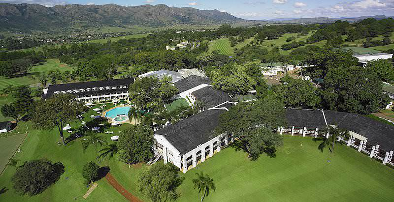An aerial view of the sprawling five star Royal Swazi Sun in Swaziland.