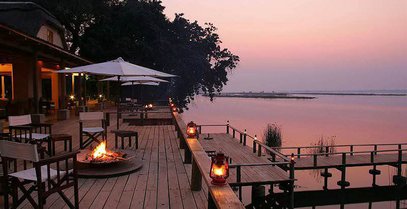 A pink dusk settles over the Royal Zambezi Lodge in Lower Zambezi National Park.