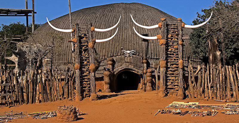The entrance to the traditonal Zulu kraal at Shakaland in KwaZulu-Natal.