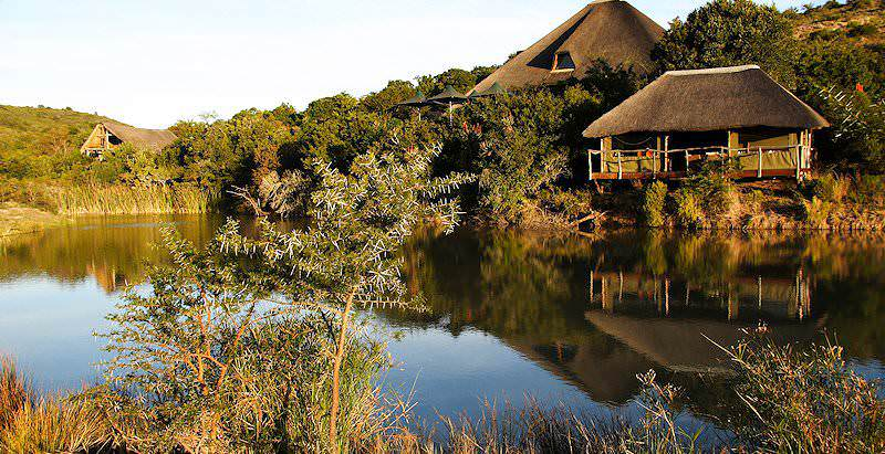 Shamwari Bayethe Lodge overlooks a waterhole in the Shamwari Private Game Reserve.