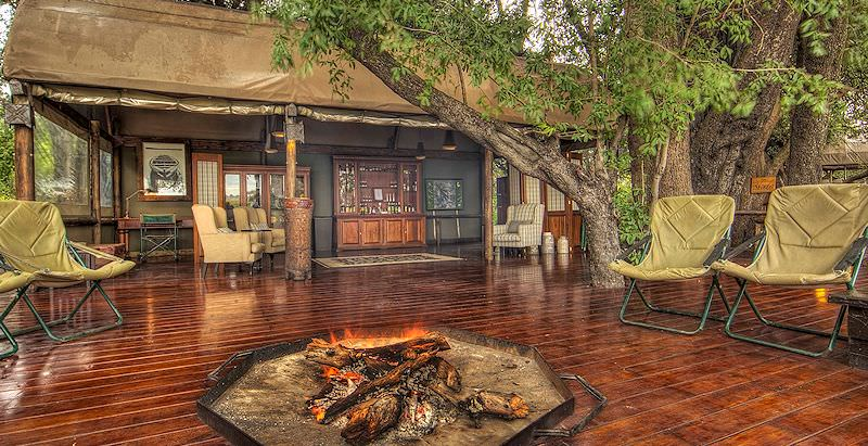The welcoming boma area at Shinde Camp in the Okavango Delta.