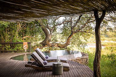 The luxurious deck of a Singita lodge in Sabi Sand.