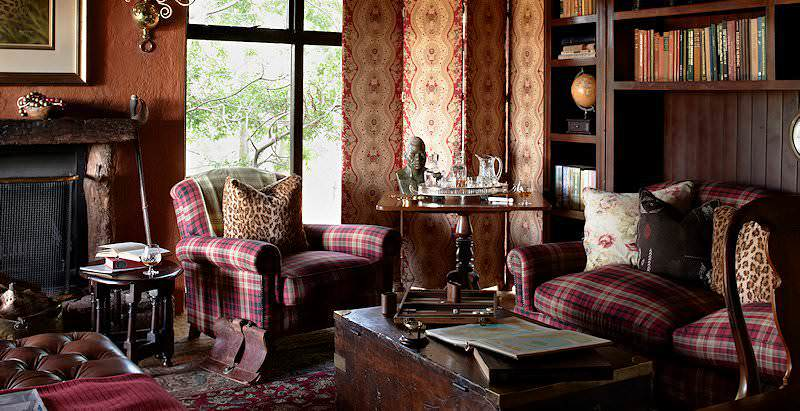 Classic furnishings enhance the interiors of Singita Ebony Lodge in the Sabi Sand Private Game Reserve.