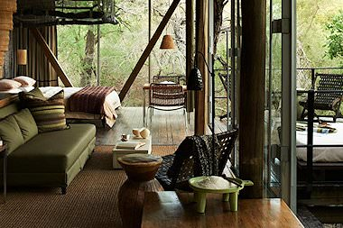 A stylish suite at Singita Sweni in the Kruger Park.