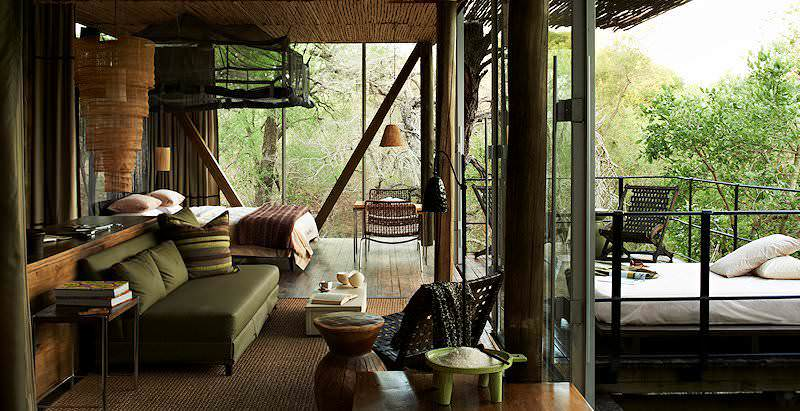The opulent interior of a suite at Singita Sweni Lodge in the Kruger National Park.