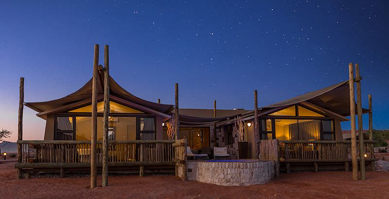 The stylish exterior of a suite at Sossusvlei Lodge in Namibia.