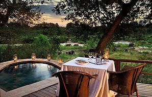 A private deck and plunge pool at Lion Sands Tinga Lodge.