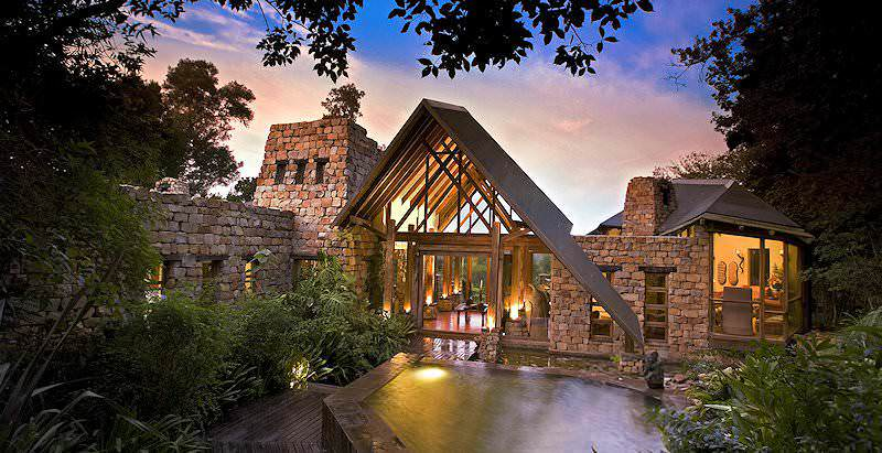 The entrance to the lofty Tsala Treetop Lodge amidst the primordial forests of the Garden Route.