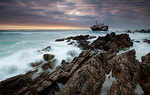 A shipwreck bobs in the swell of the Agulhas National Park.