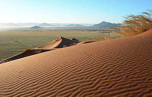 The rippling red dunes of the Central Kalahari.