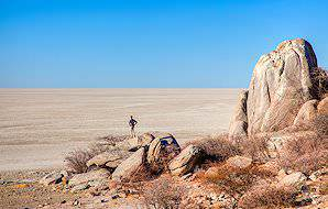 The rocky outcrop of Kubu Island in the heart of the Makgadikgadi Pans.