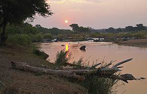 The sun sets over the Olifants River in the Balule Private Game Reserve.