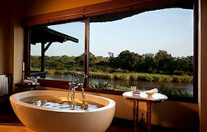 A sumptuous bath at Lion Sands Tinga Lodge in the Kruger National Park.