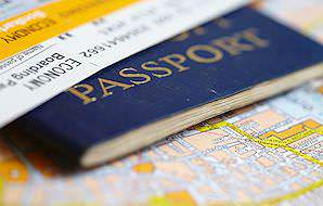 A passport document and a boarding pass.