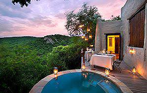The private plunge pool of a luxury suite at Phinda Rock Lodge.