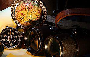 Binoculars, a compass and a miniature globe.