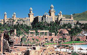 The Palace Hotel rises up above Sun City's Valley of the Waves.