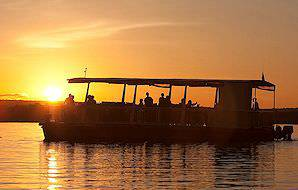 An idyllic sunset cruise on the Zambezi River.